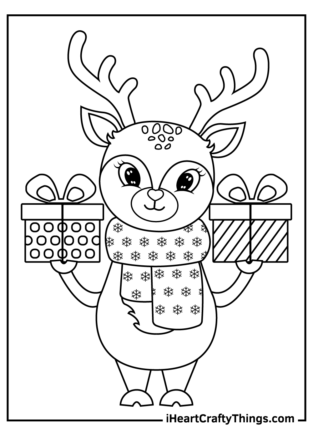 christmas reindeers coloring pages free download