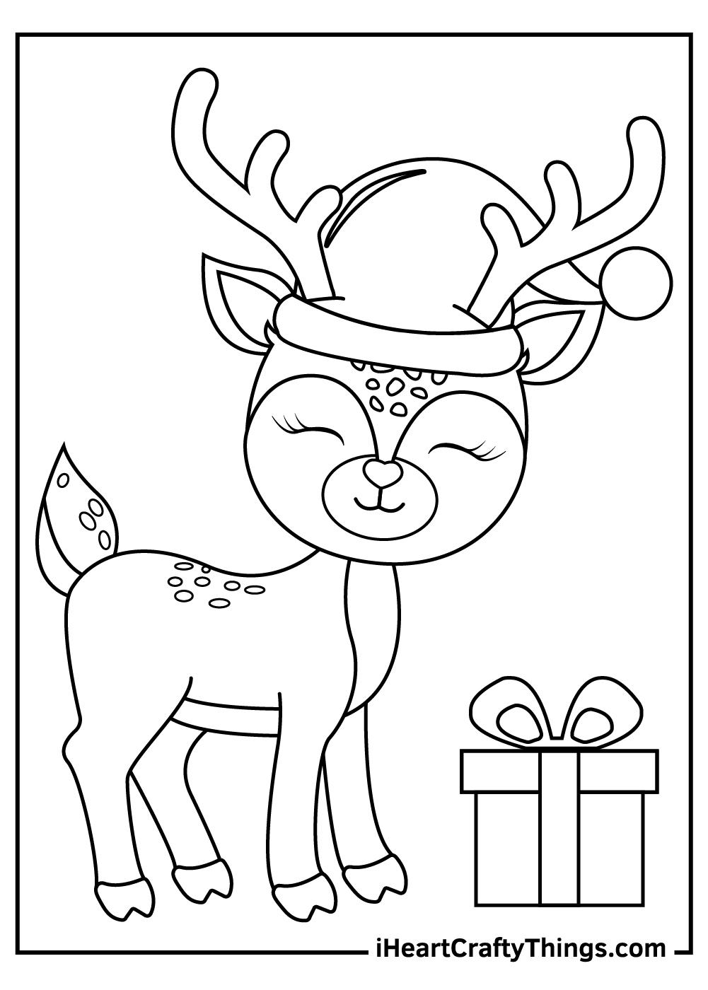 cute christmas reindeers coloring pages free pdf