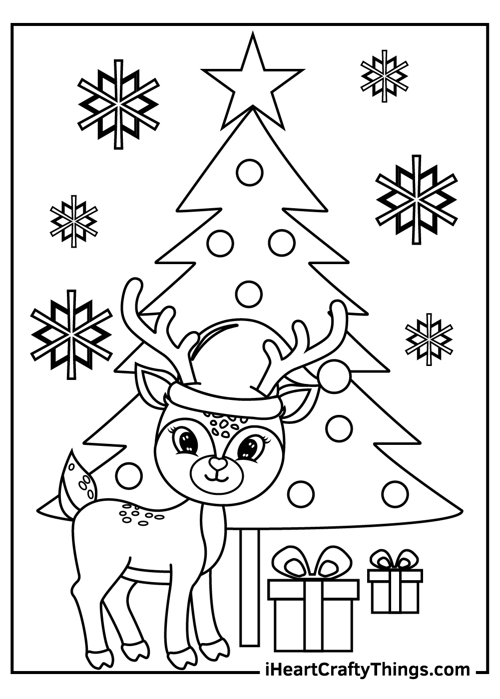 christmas tree and reindeers coloring pages