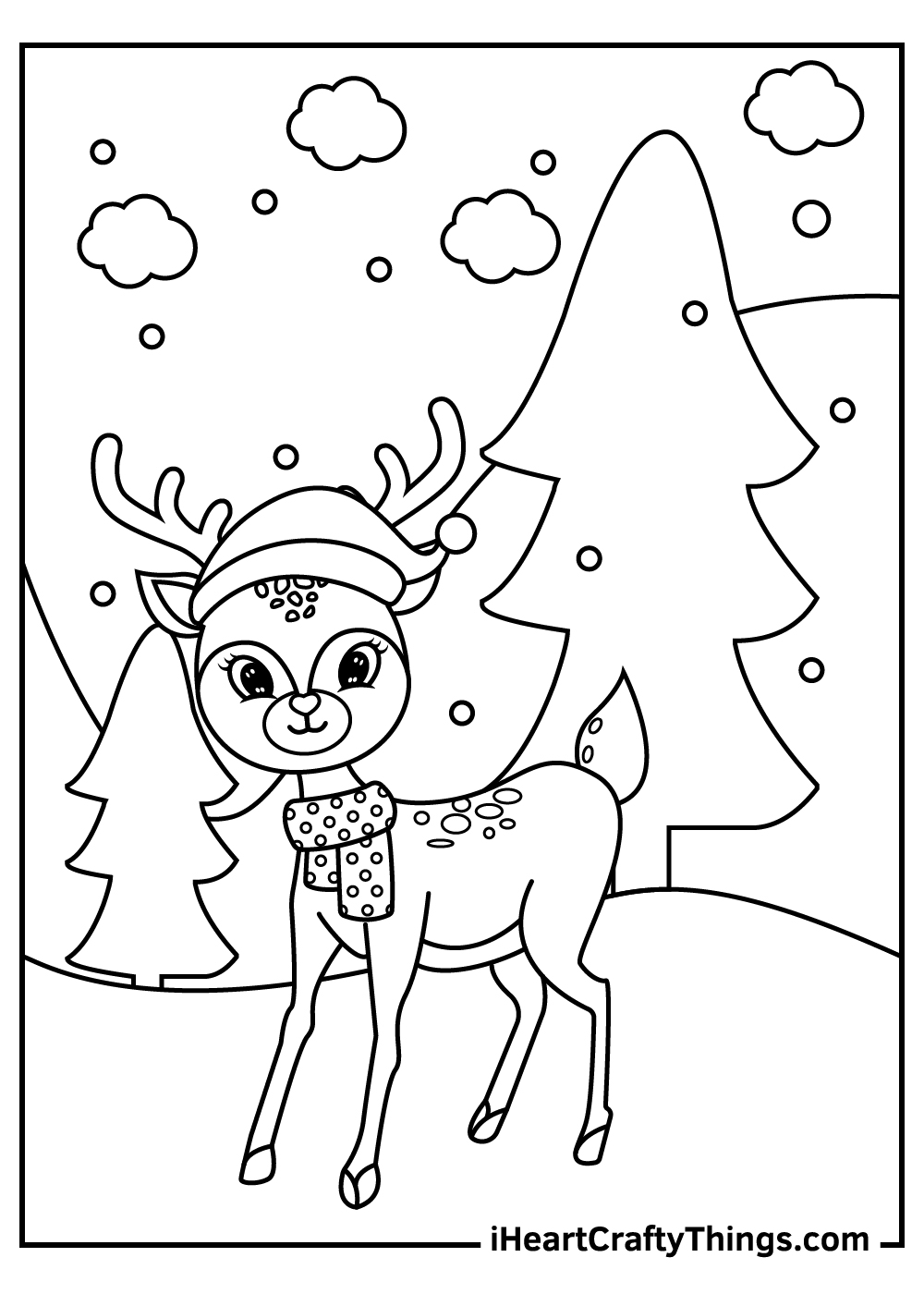 christmas reindeers in snow coloring pages free