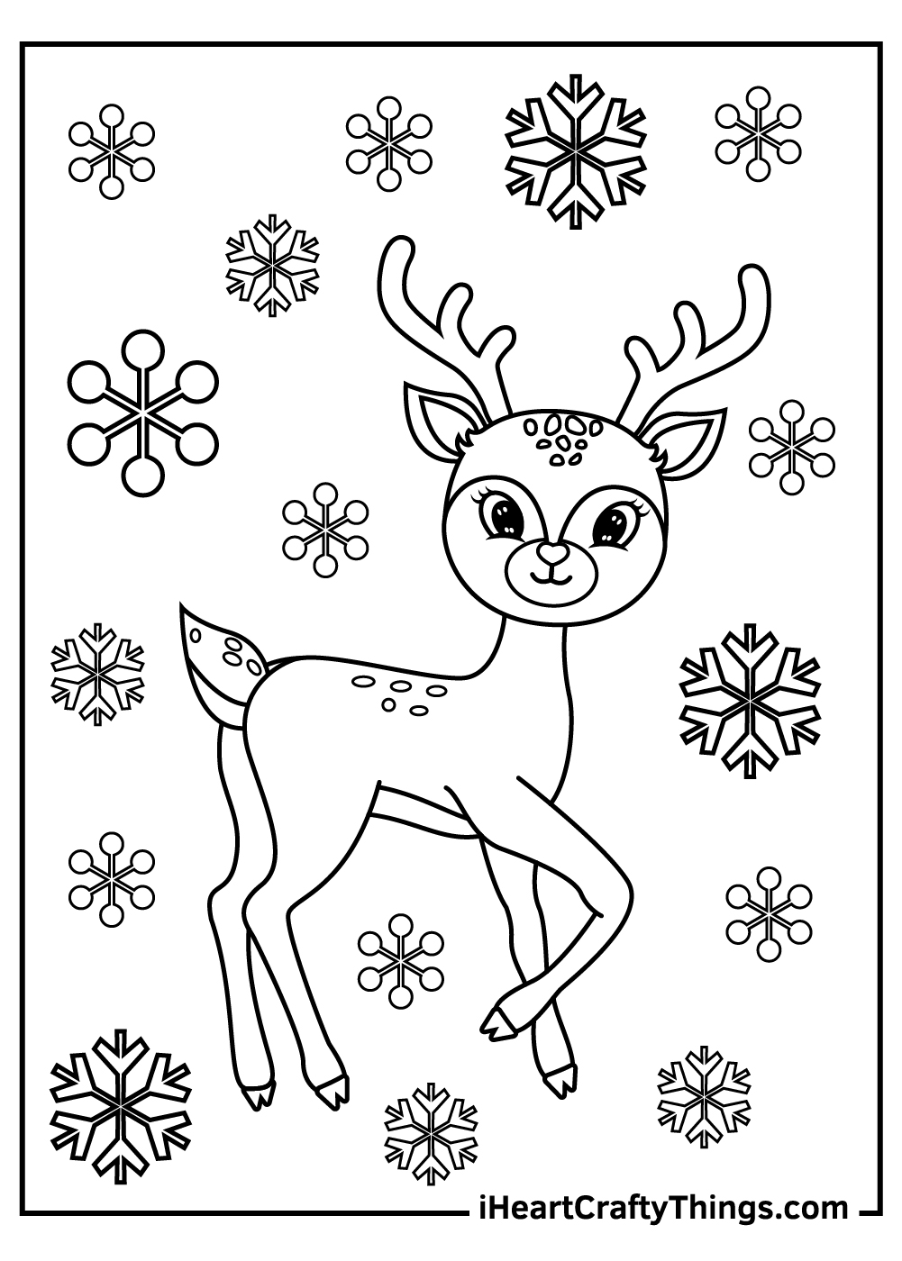 christmas reindeer and snowflakes coloring pages free print out