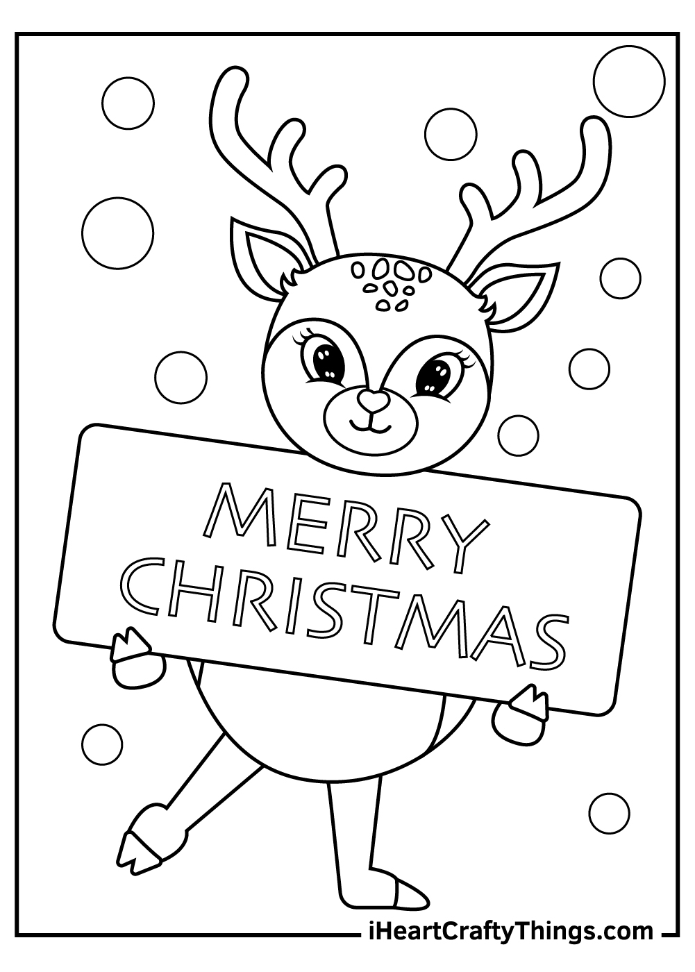 merry christmas reindeers coloring pages free pdf