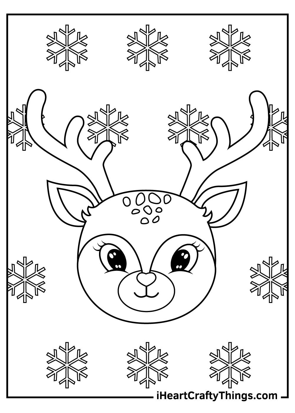 cartoon christmas reindeers coloring pages