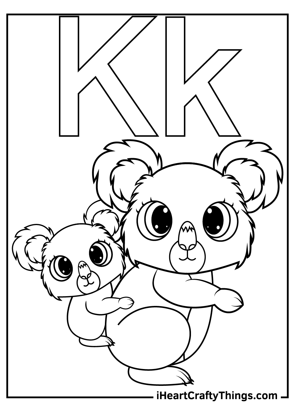 k is for koala coloring for toddlers coloring pages free