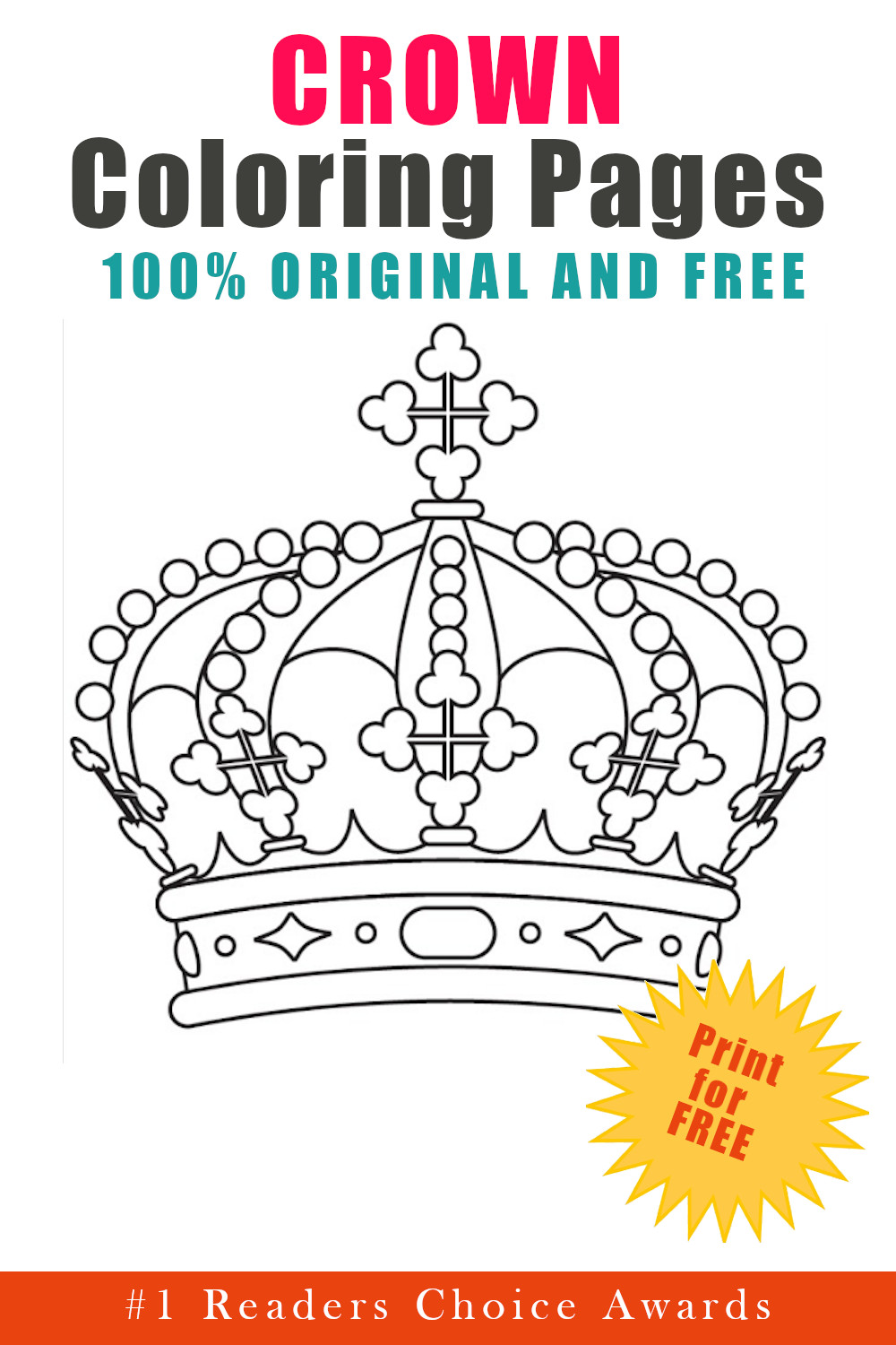 original and free crown coloring pages download