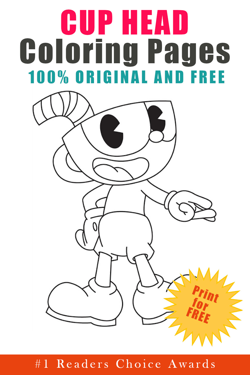 original and free cup head coloring pages