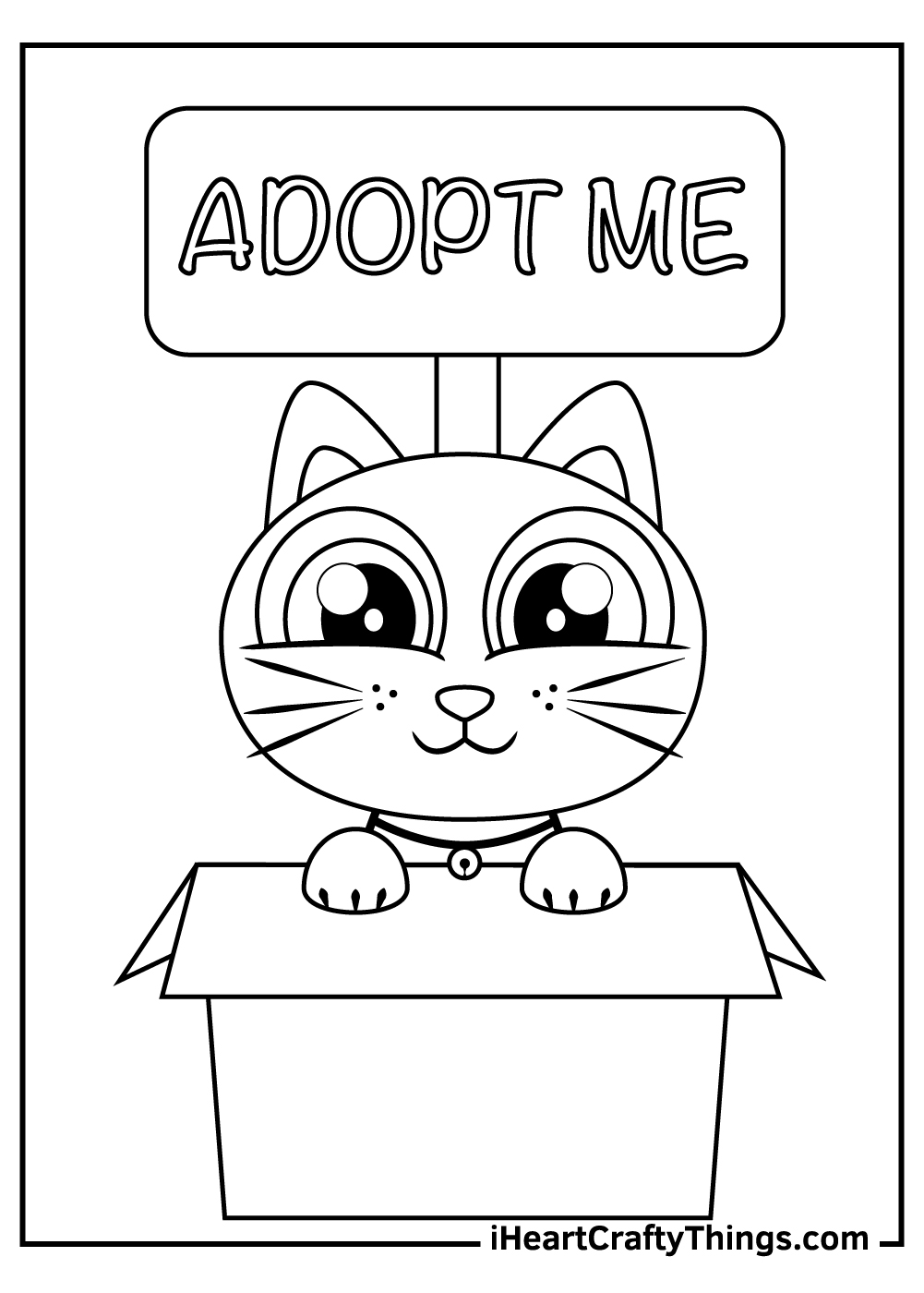 black and white cute kitten coloring pages free