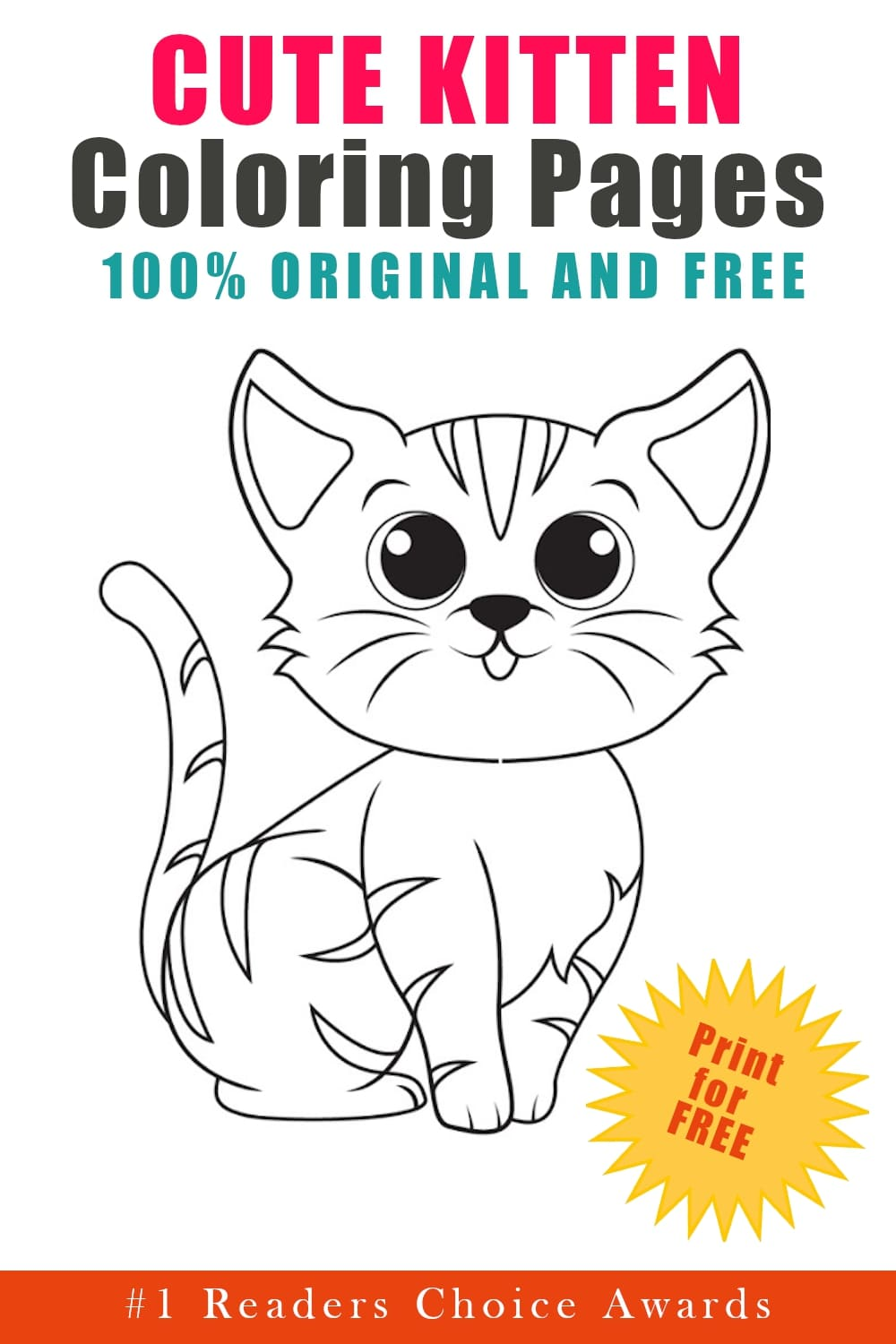 original and free cute kitten coloring pages