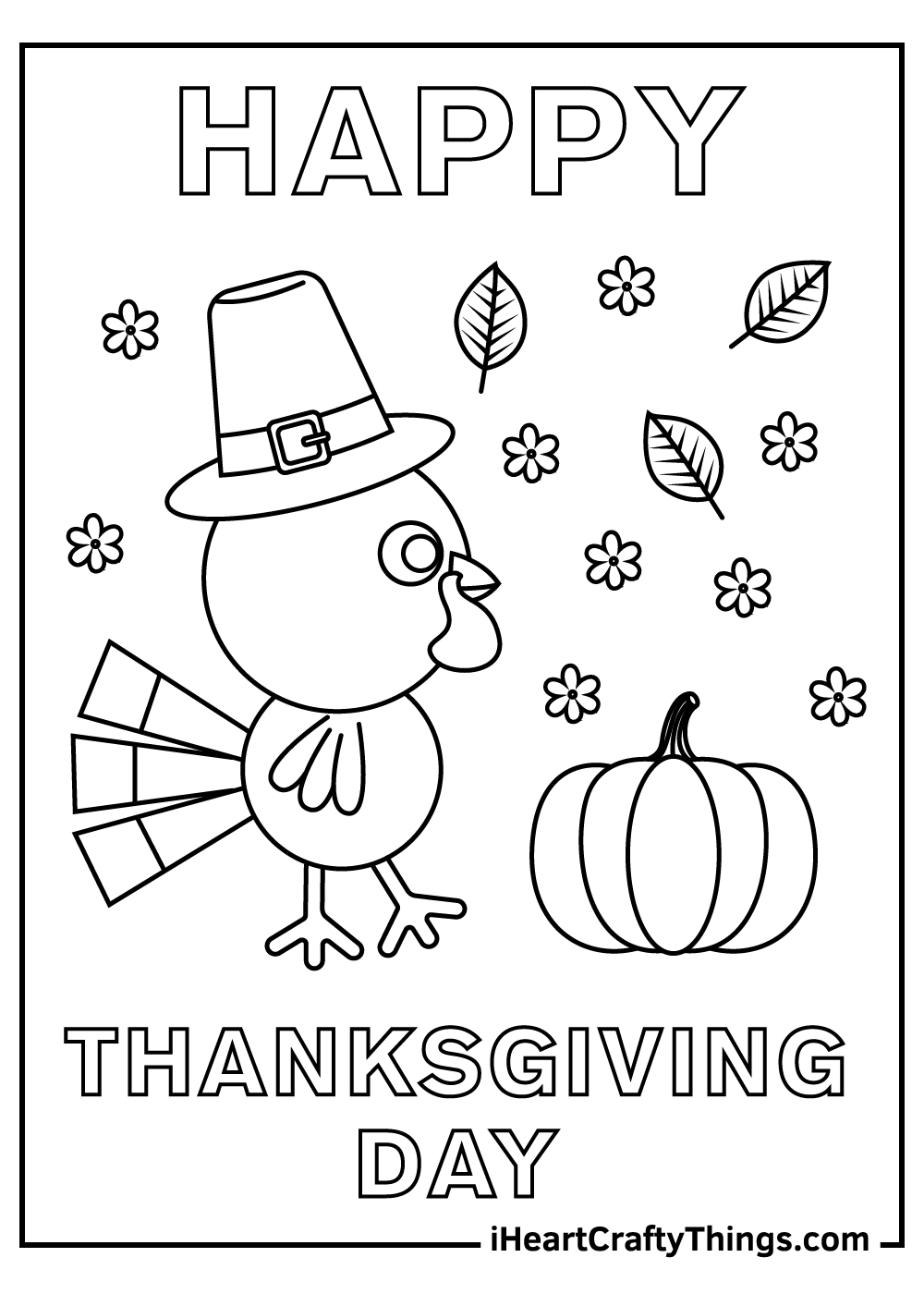 happy thanksgiving day turkey coloring pages