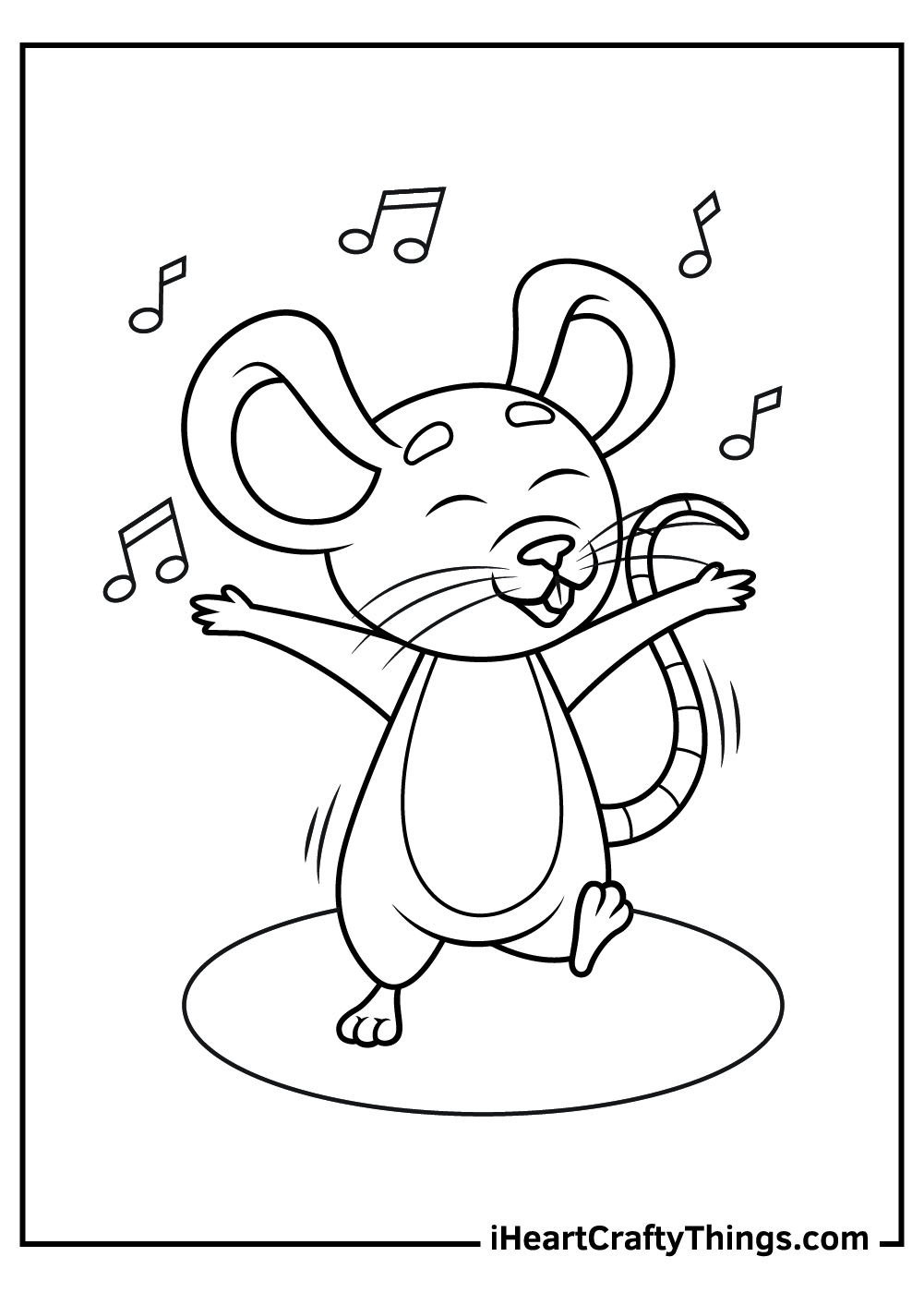 dancing mouse coloring page free printable