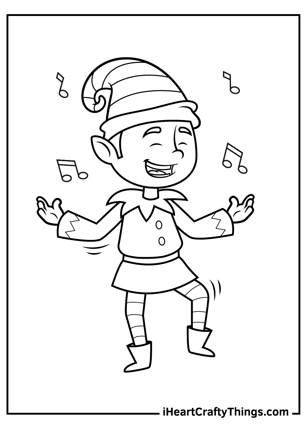 dancing elf coloring pages to print