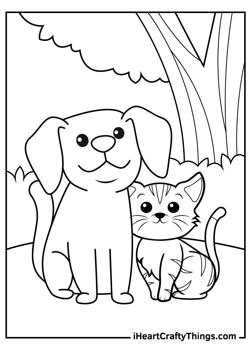 free printable dog and cat coloring pages