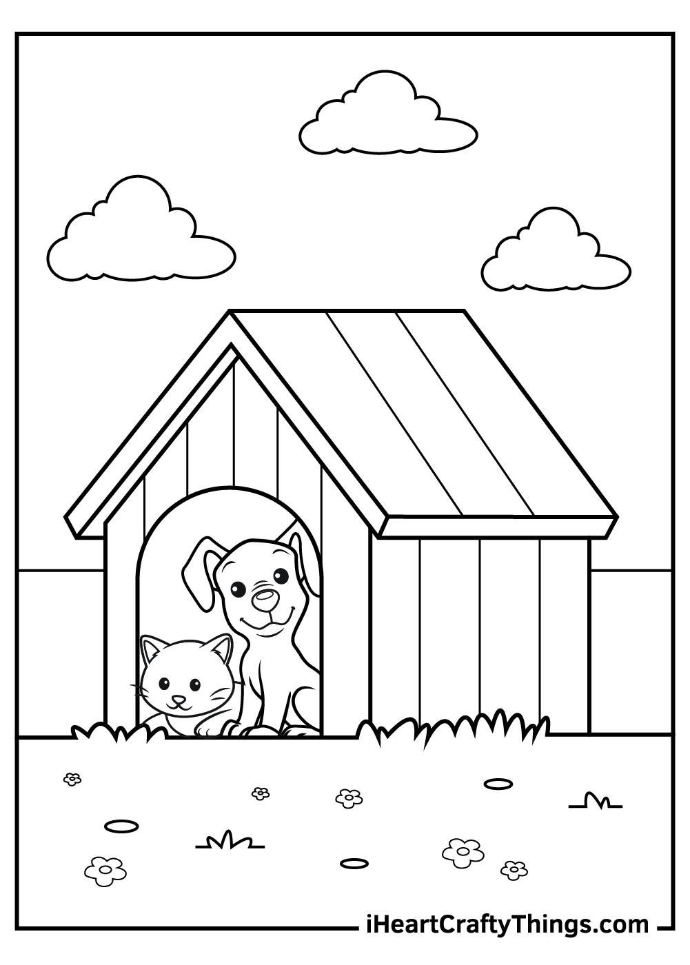 dog and cat coloring pages to print for grownups