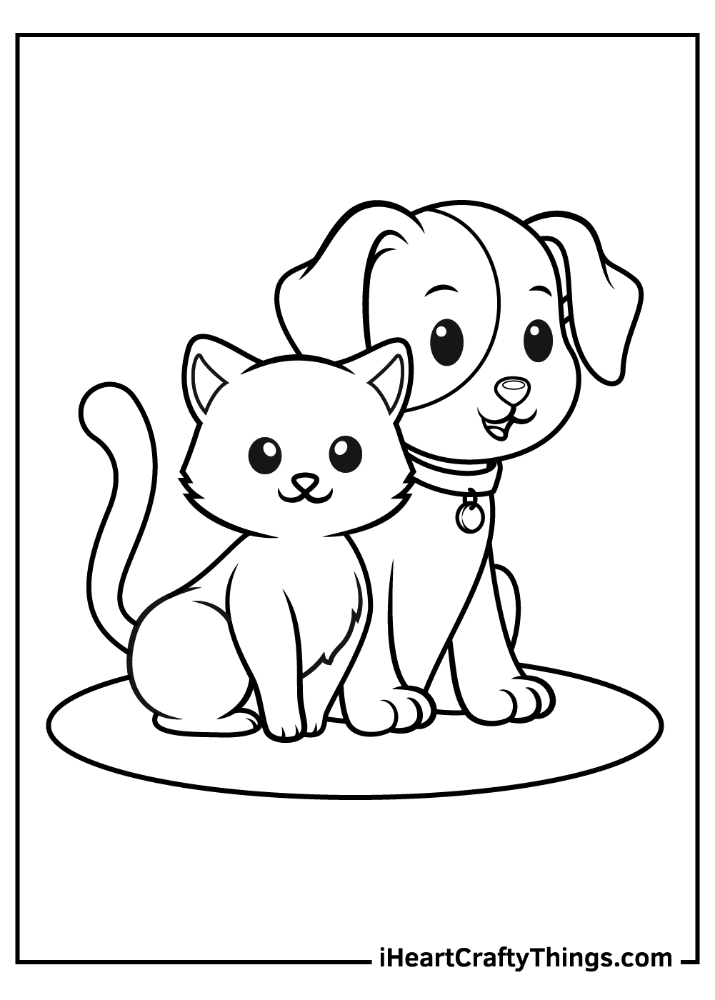 free adult printable dog and cat coloring pages