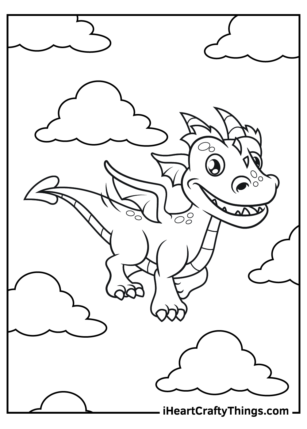 flying dragon coloring pages free pdf to print