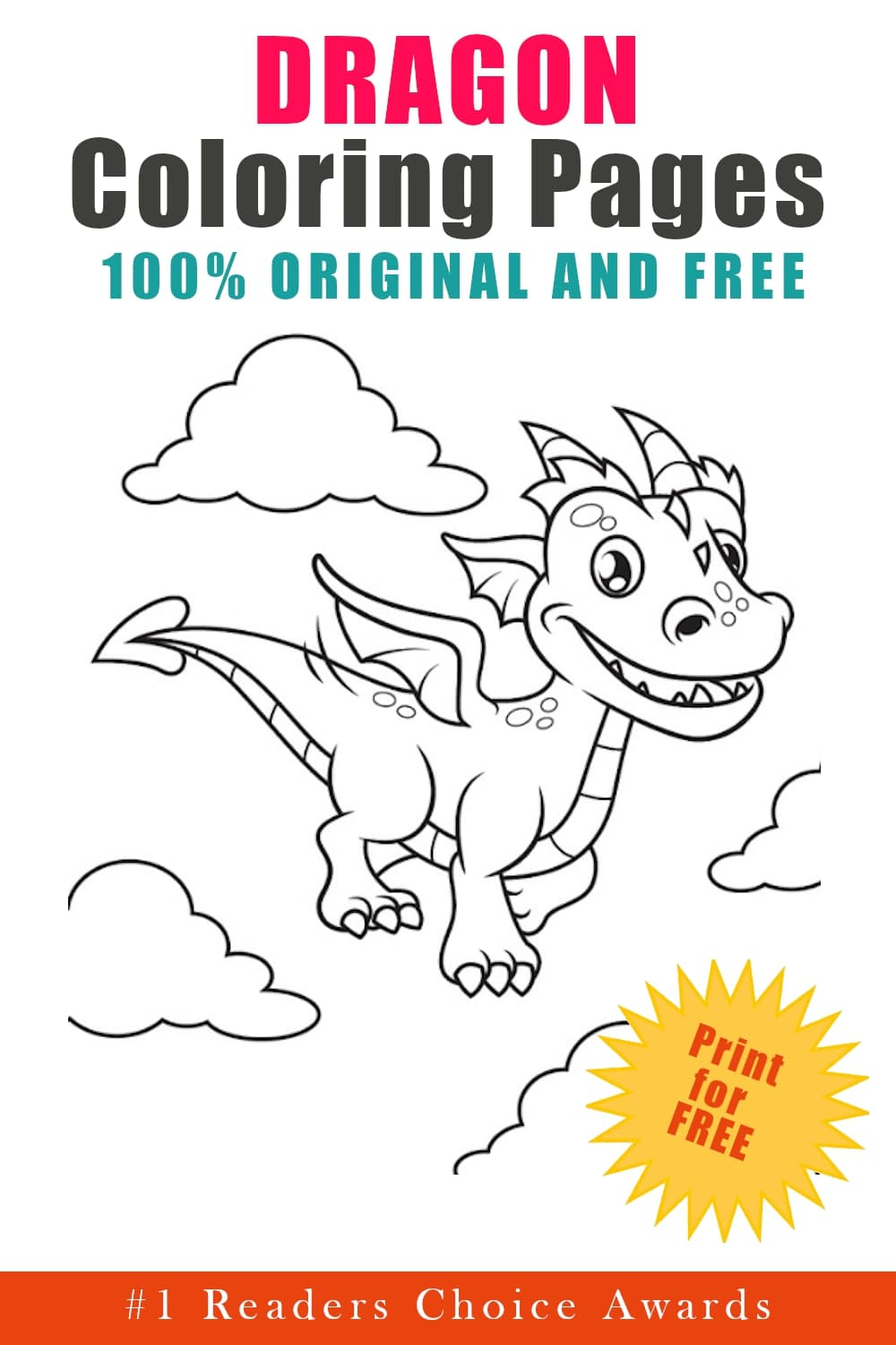 original and free dragon coloring pages