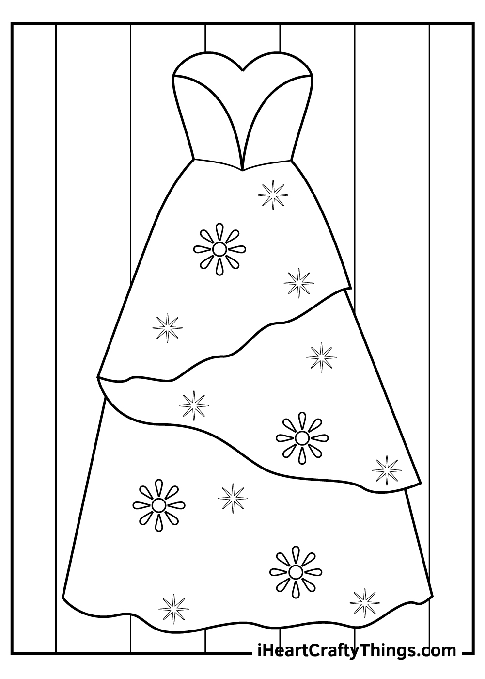 wedding dress coloring pages free printable