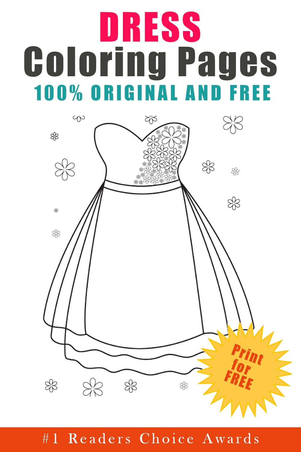 original and free dress coloring pages
