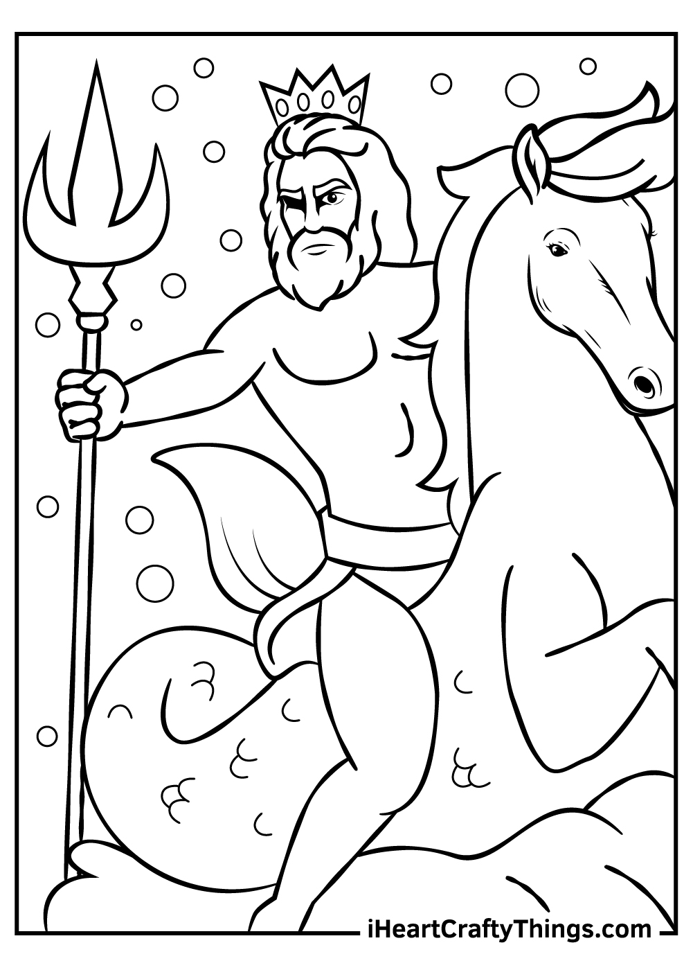 Poseidon Greek mythology coloring pages free printable