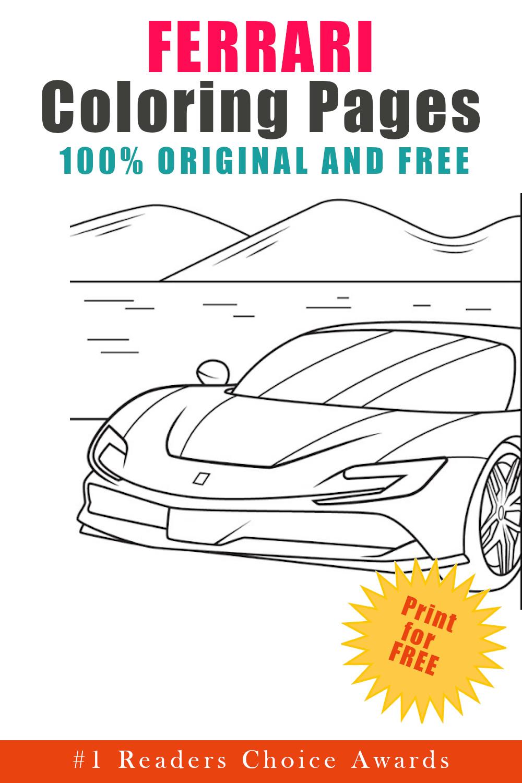 original and free ferrari coloring pages