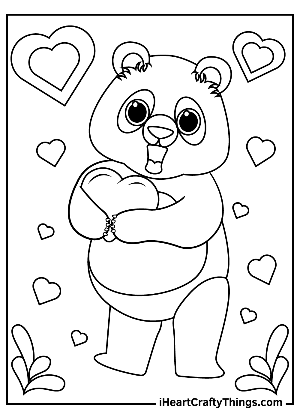 valentine's giant panda in love coloring pages