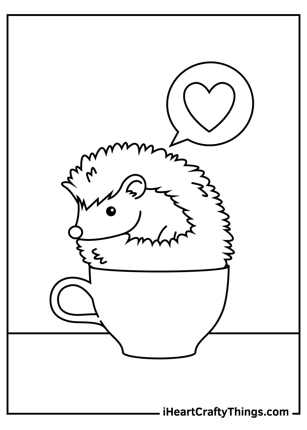 valentine's hedgehog coloring pages free printable