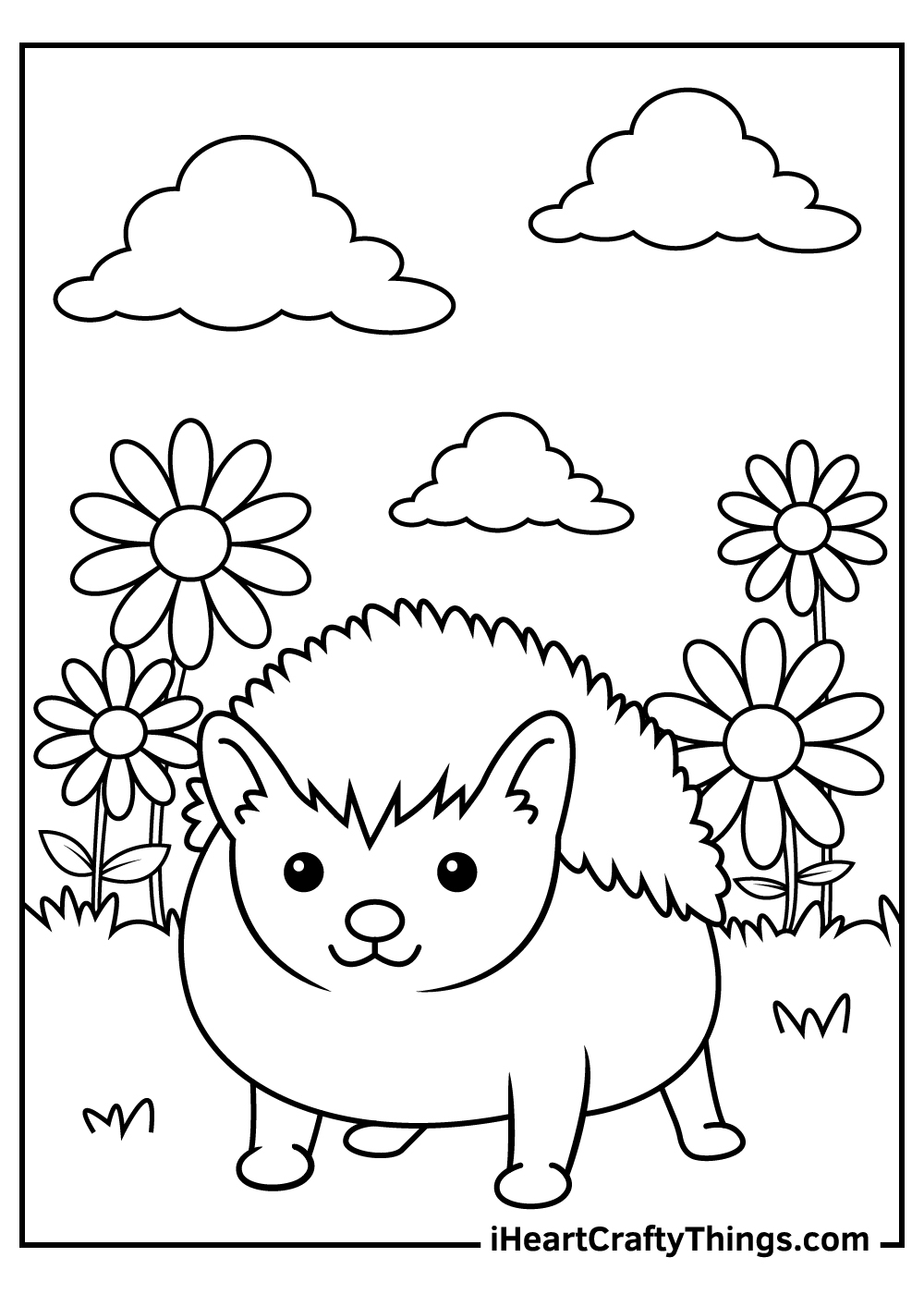 summer hedgehog coloring pages free download