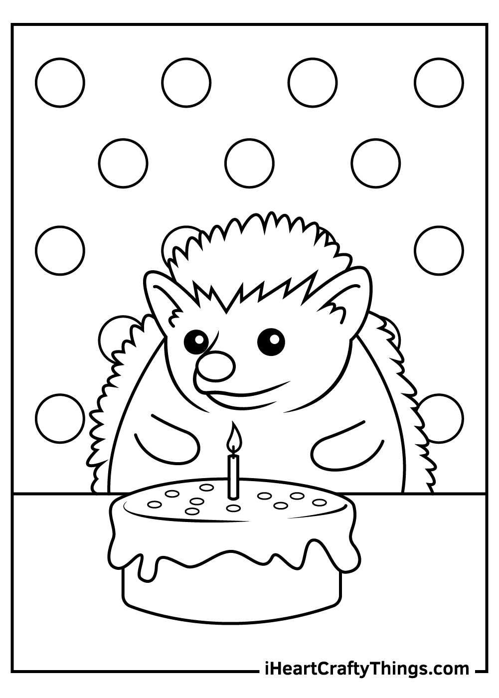 happy birthday hedgehog coloring pages