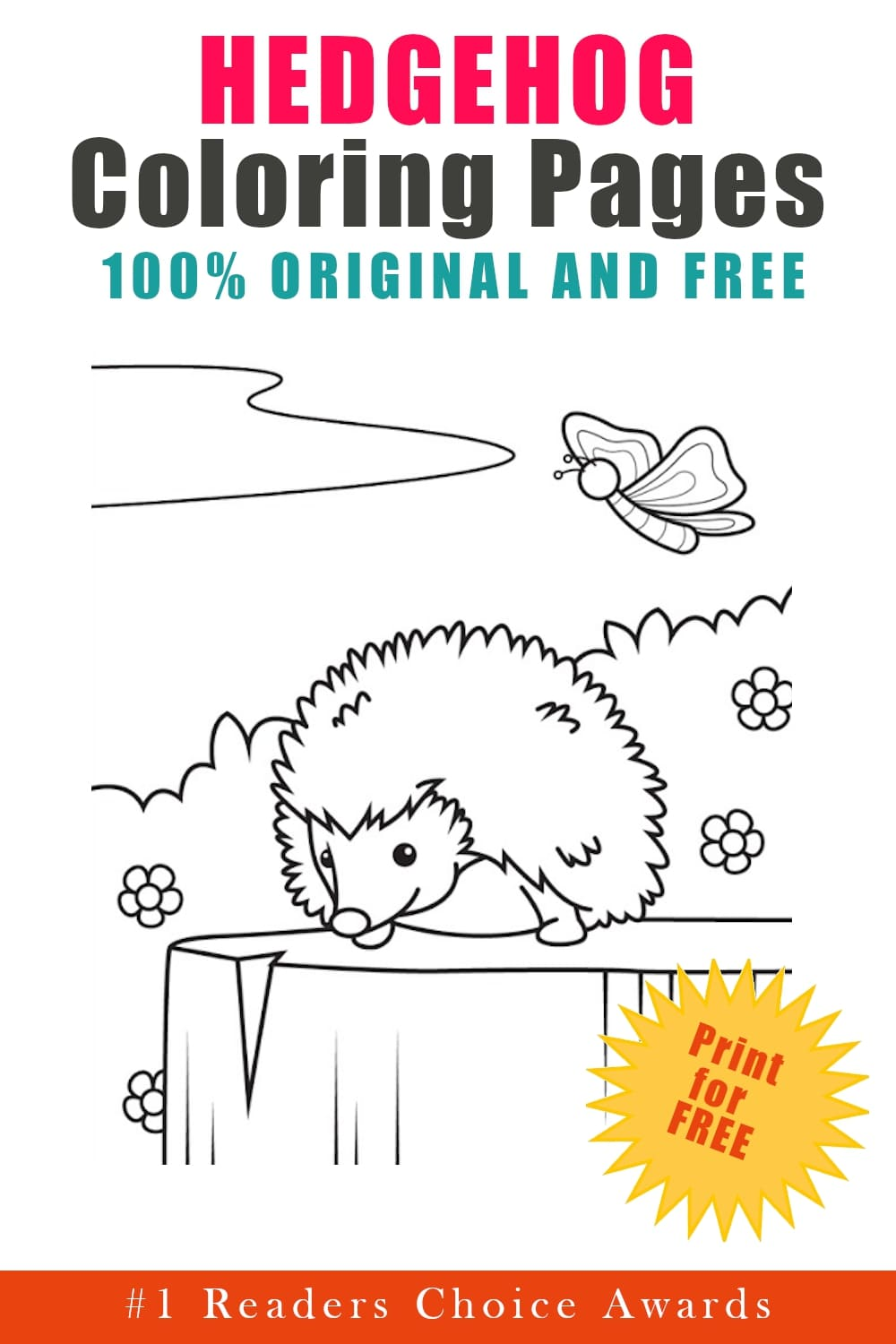 original and free hedgehog coloring pages