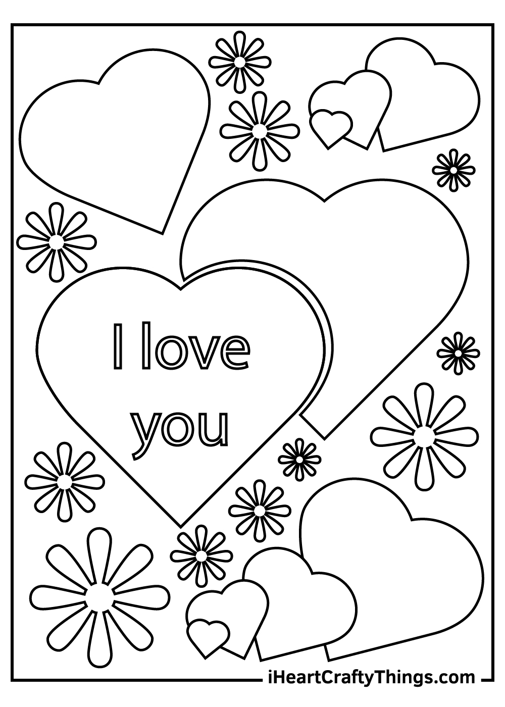I Love You heart coloring pages free printable