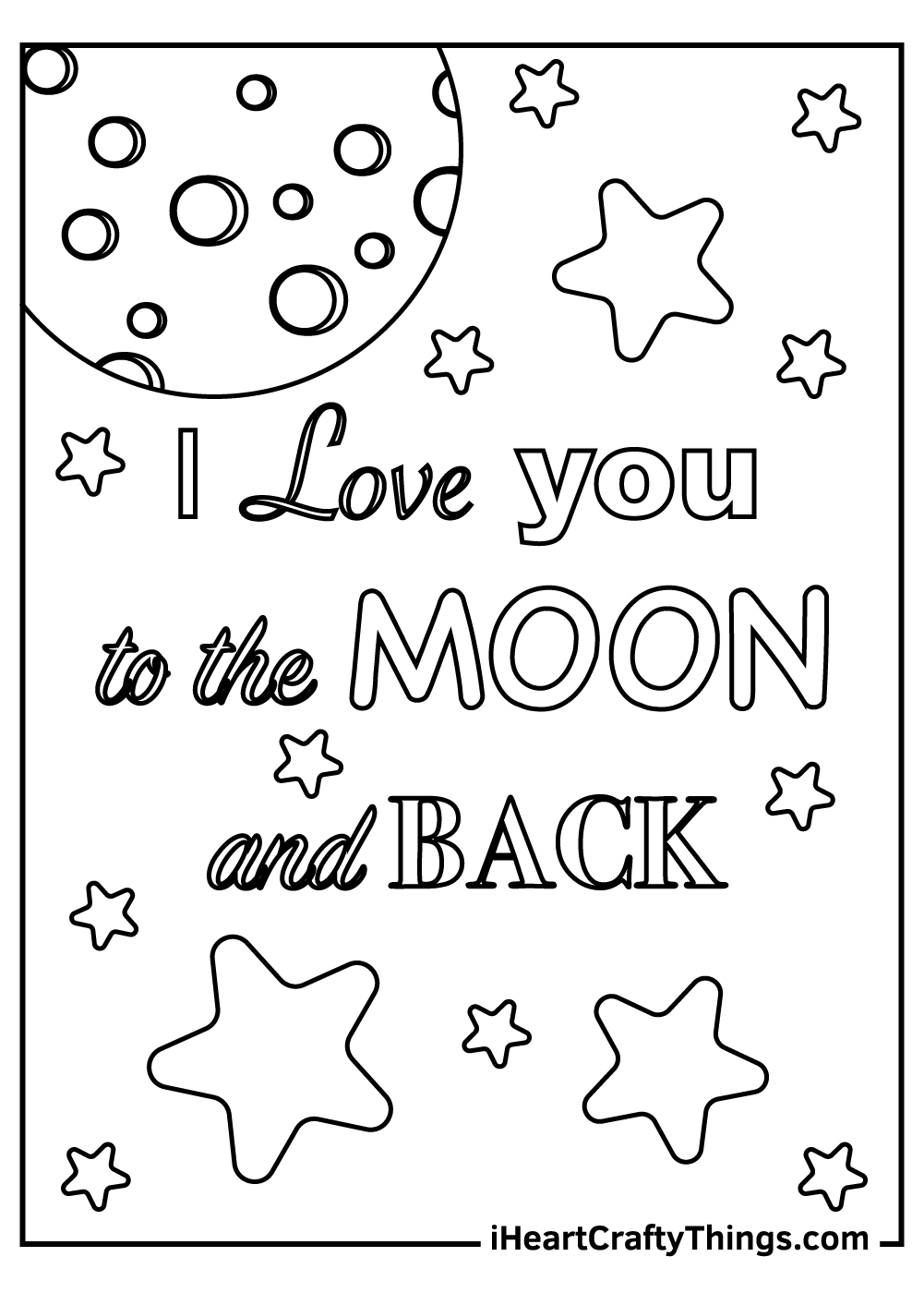 I Love to the Moon and Back coloring pages free pdf