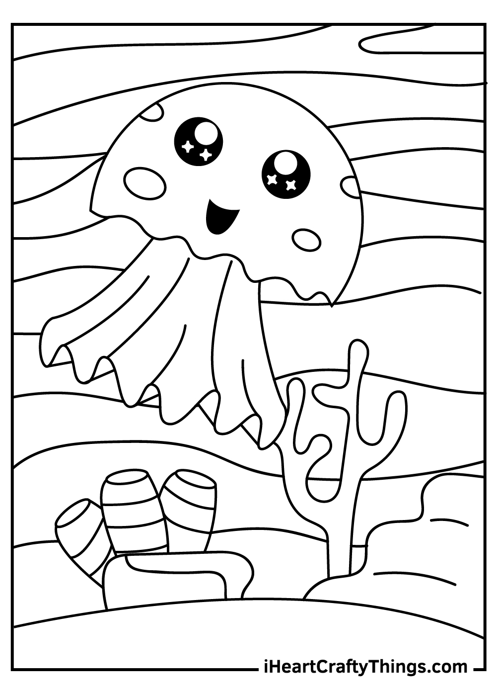 cute easy jellyfish coloring pages free printable