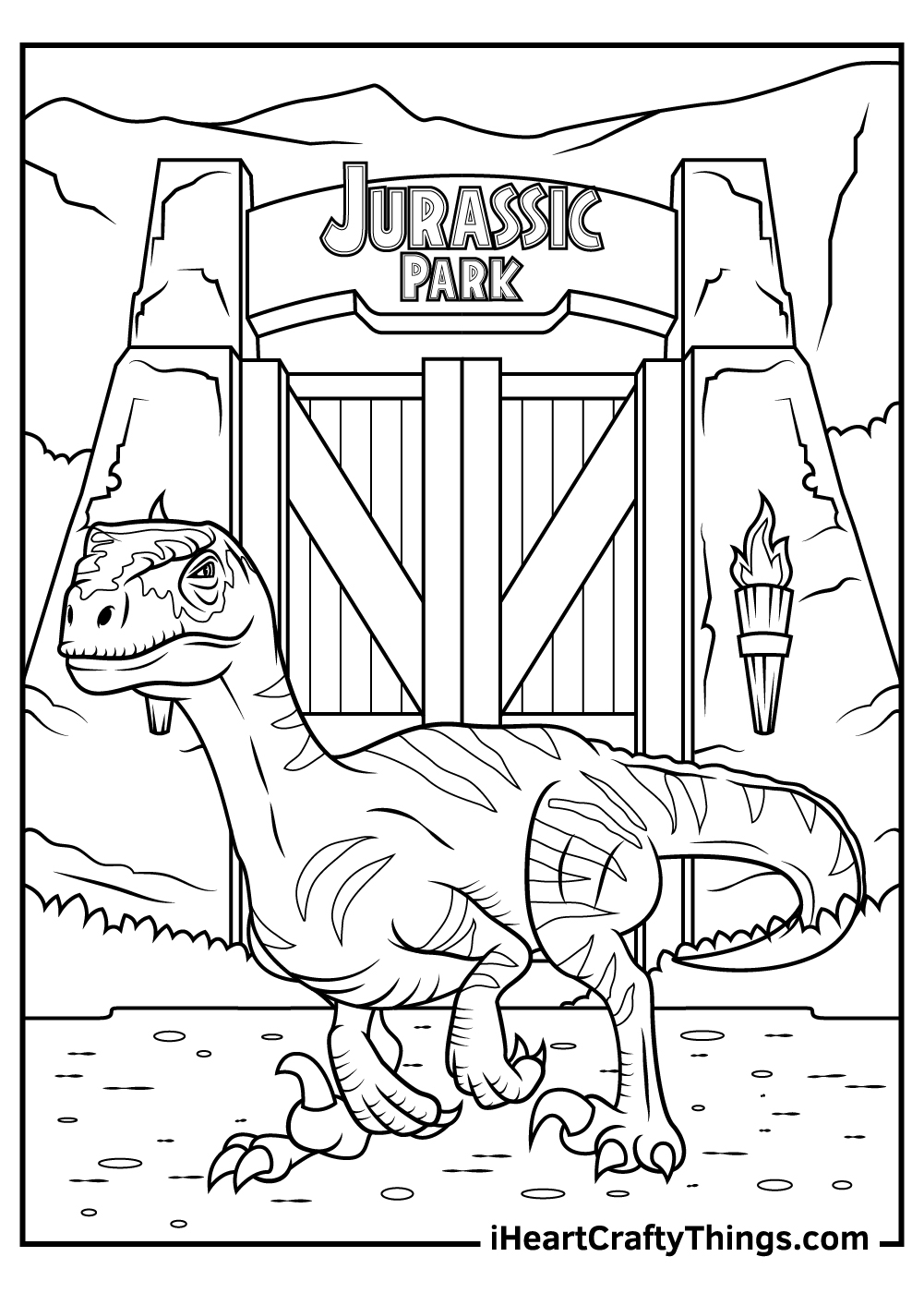 printable jurassic park coloring pages for adults