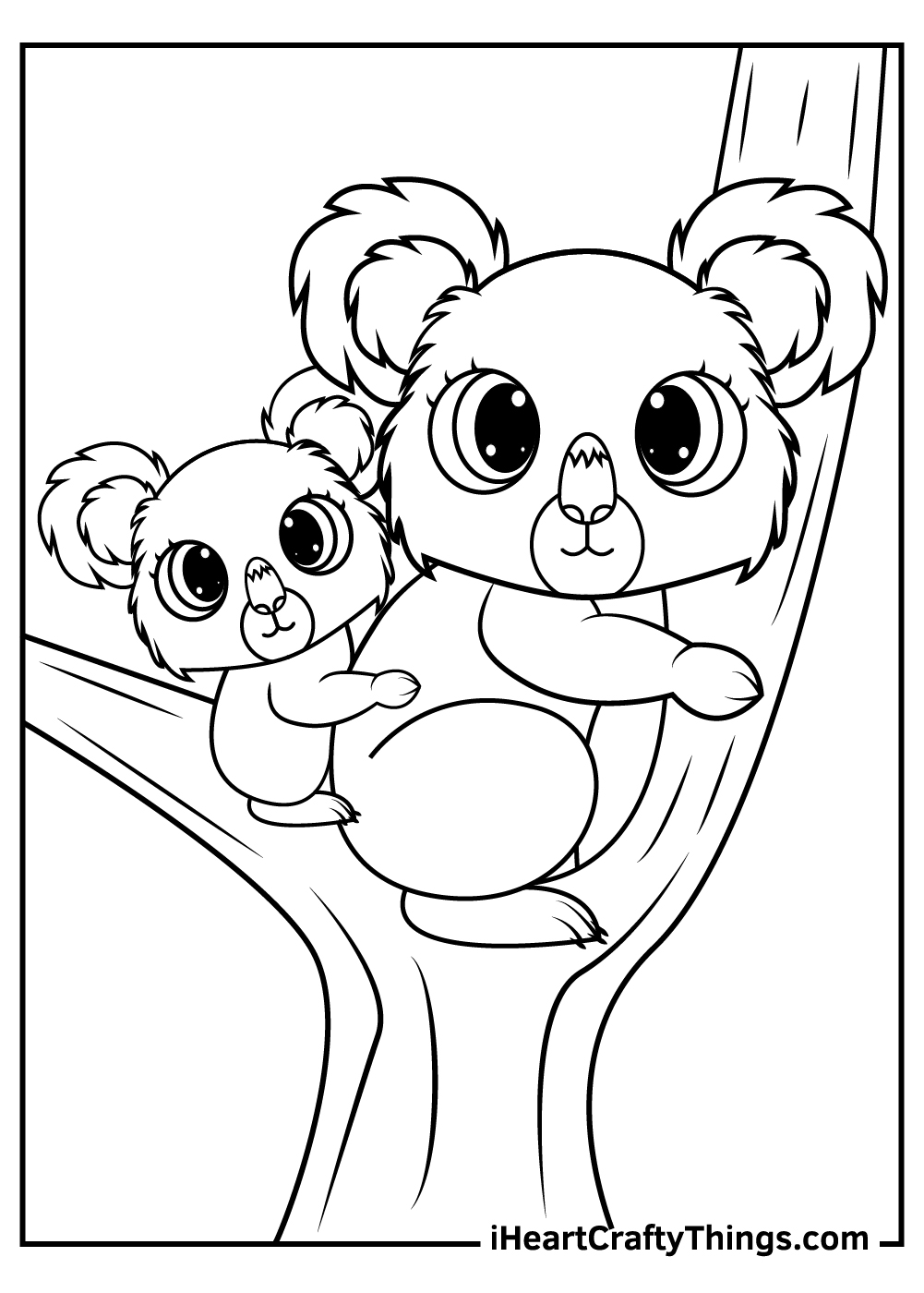 mother and baby koalas coloring pages
