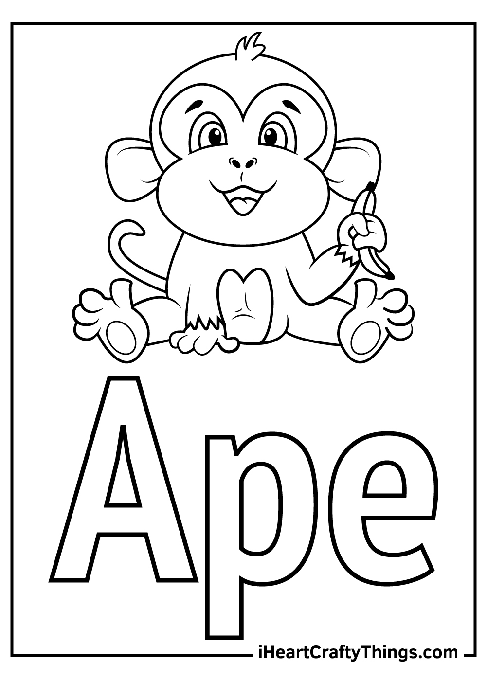 a is for ape toddler letter a coloring pages