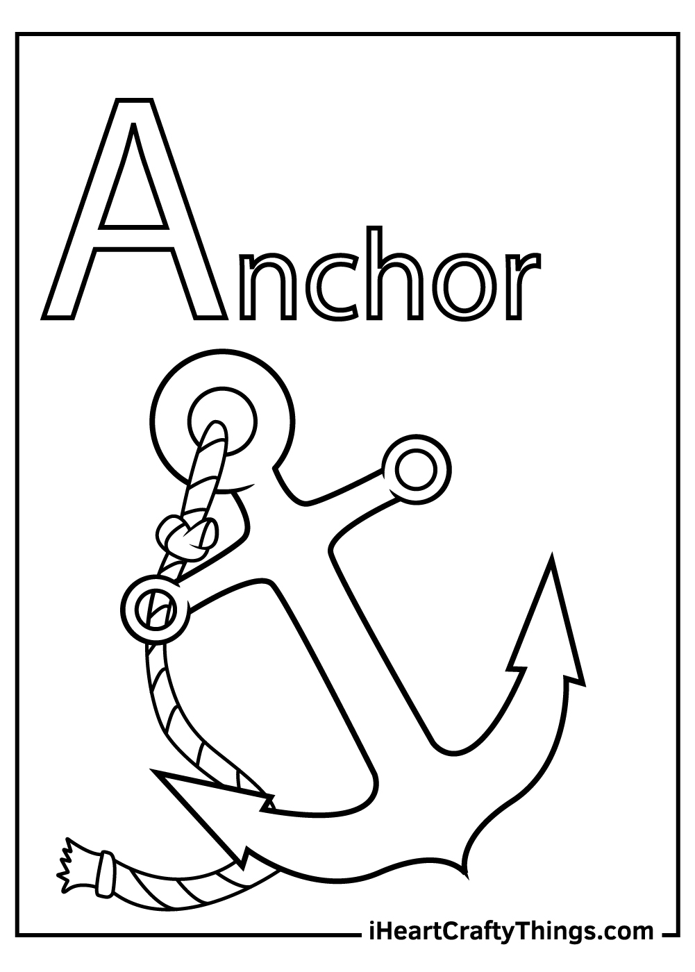 a is for anchor letter a coloring pages