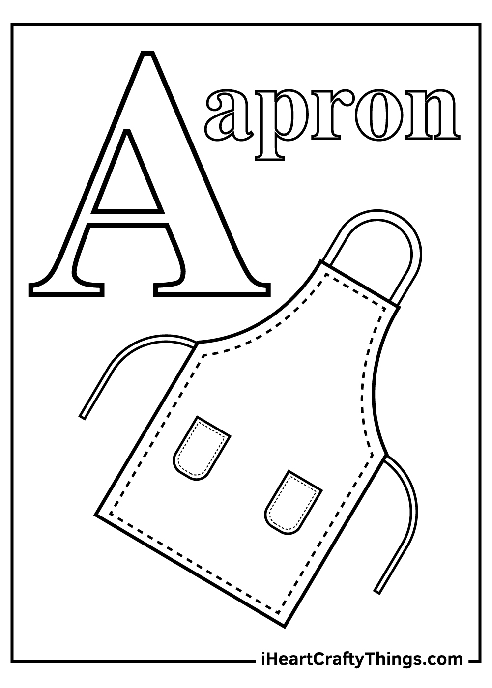 a is for apron letter a coloring pages