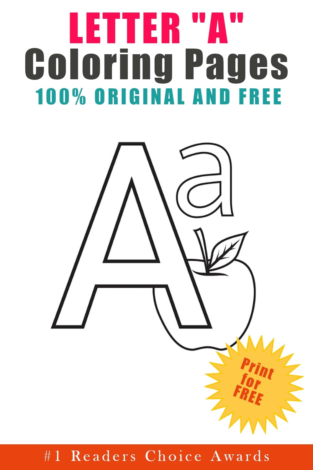 free original letter A coloring pages