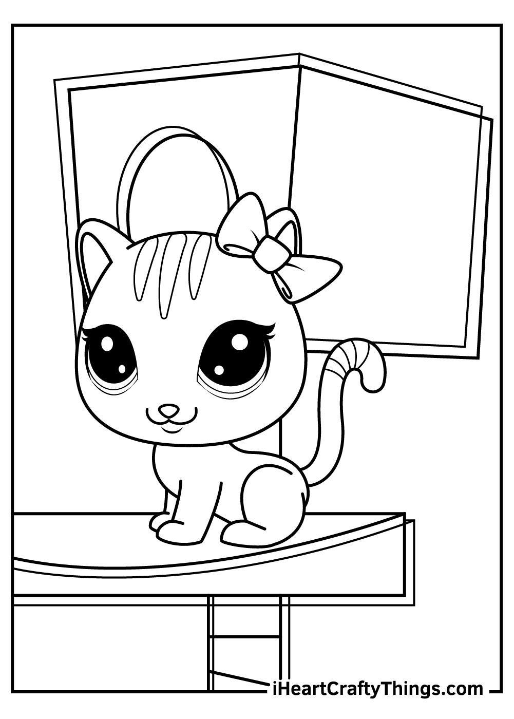 cute cat littlest pet shop coloring pages free printables