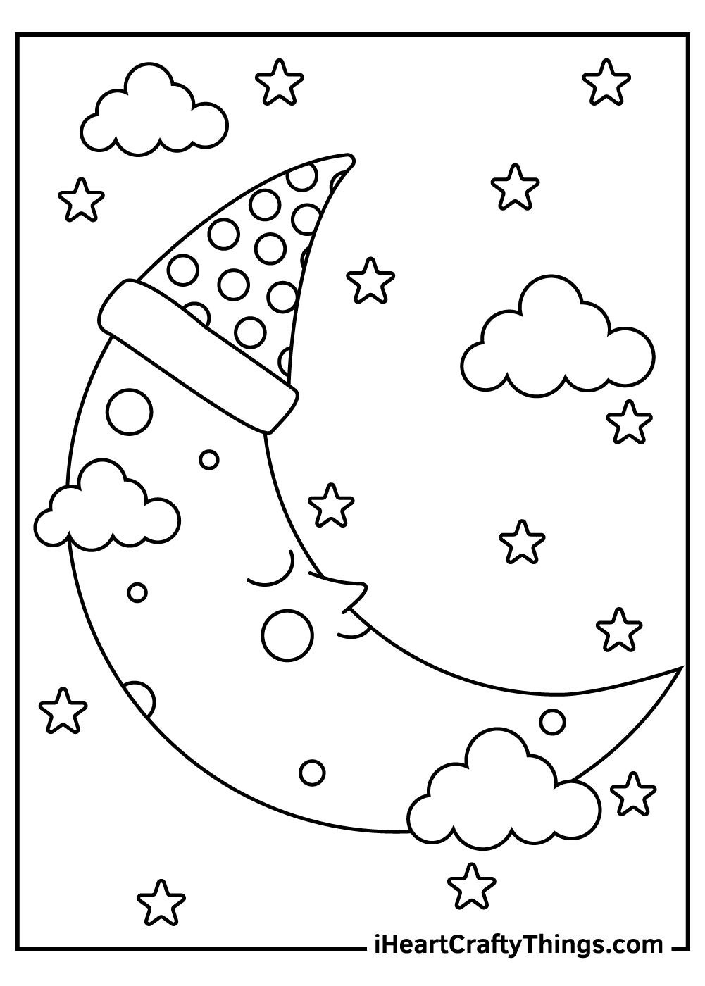 sleeping moon coloring pages for kids
