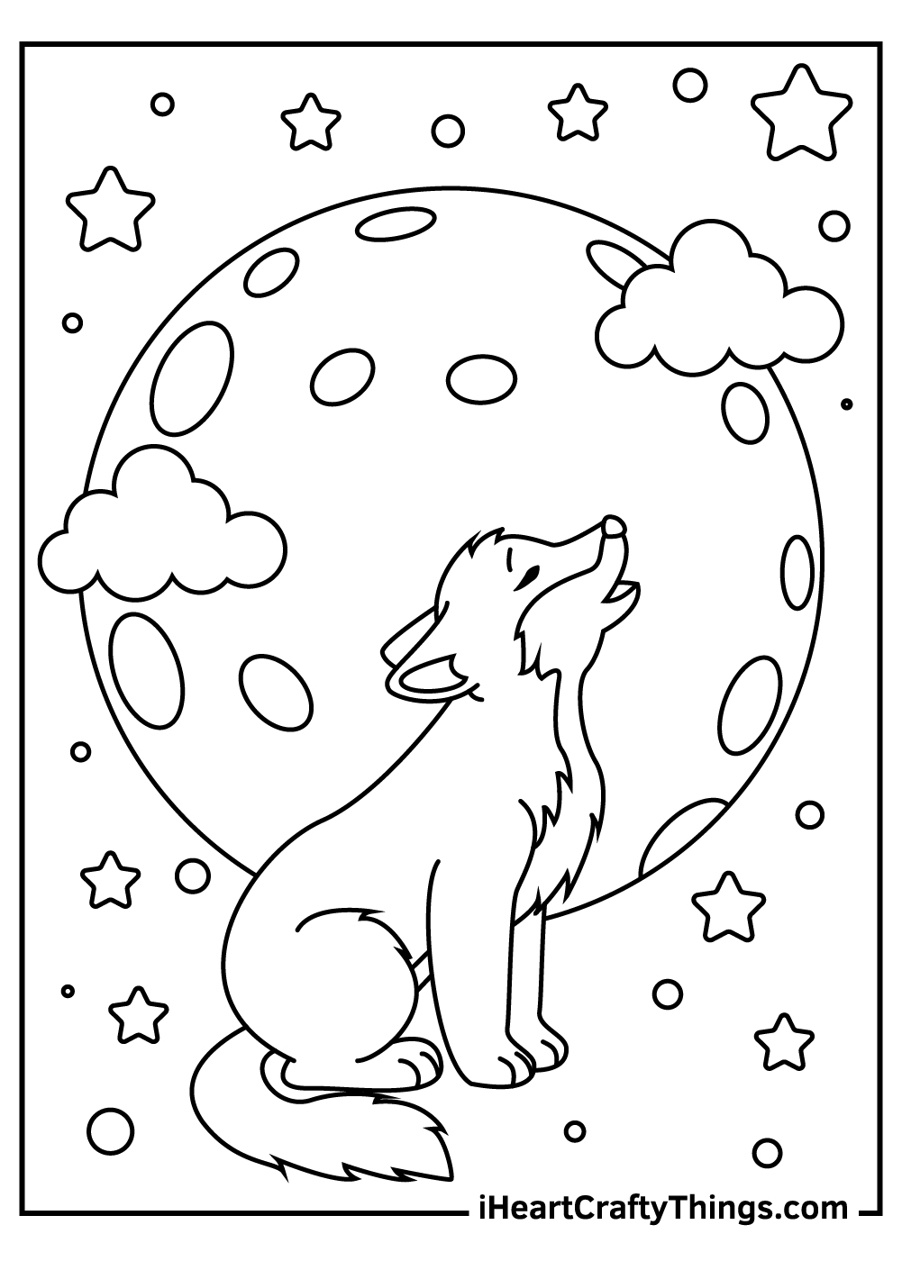 wolf and a moon coloring pages