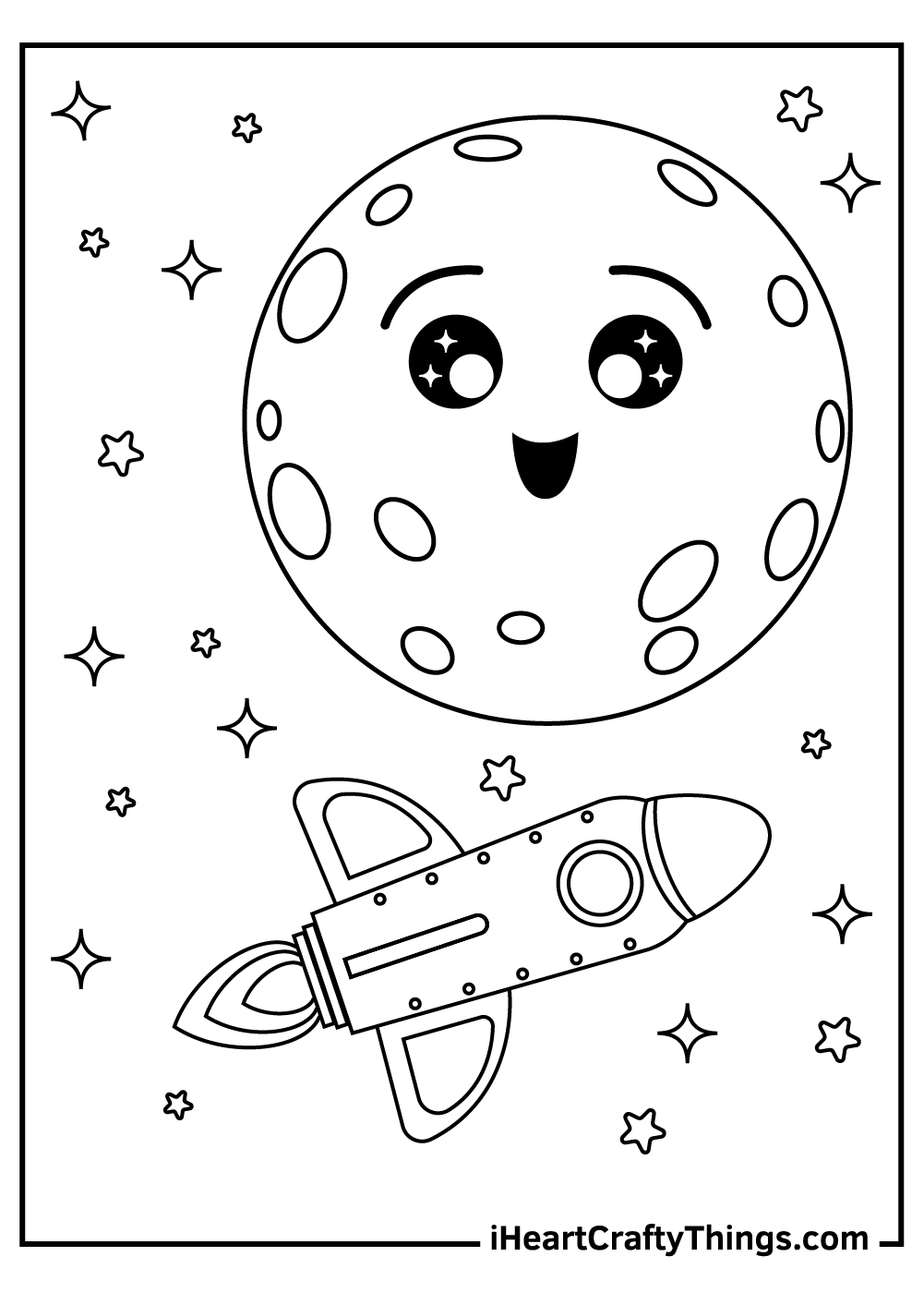 racket on a moon coloring pages