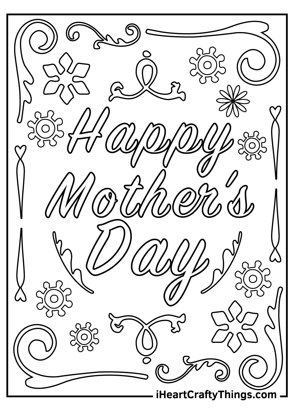 black and white mother's day printable coloring pages
