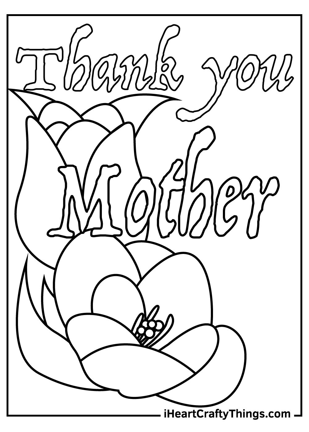 Thank you mother coloring pages printable