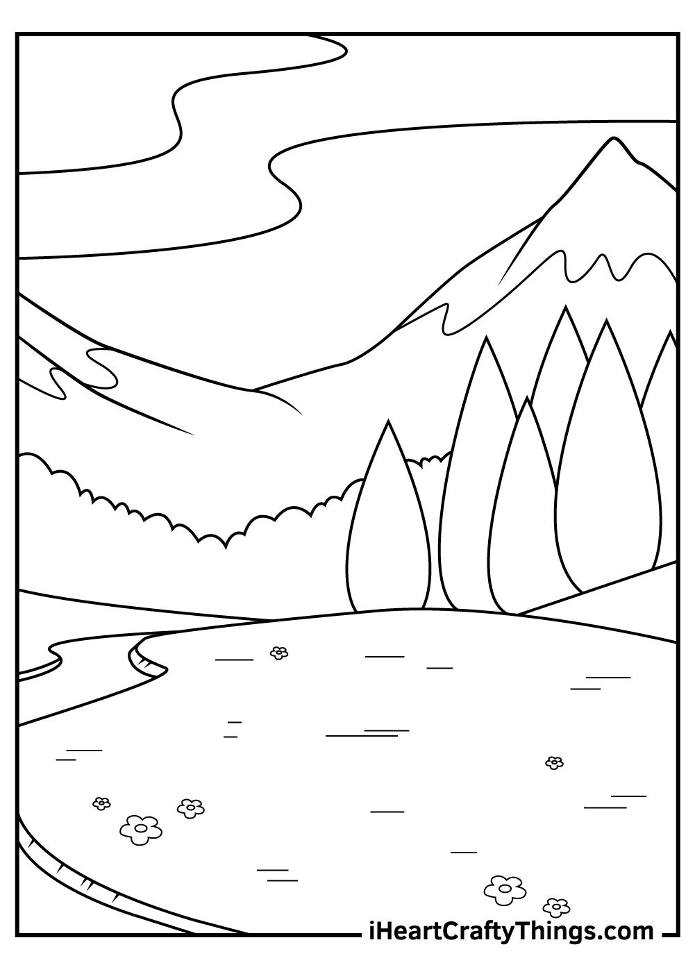 simple mountain coloring pages for adults