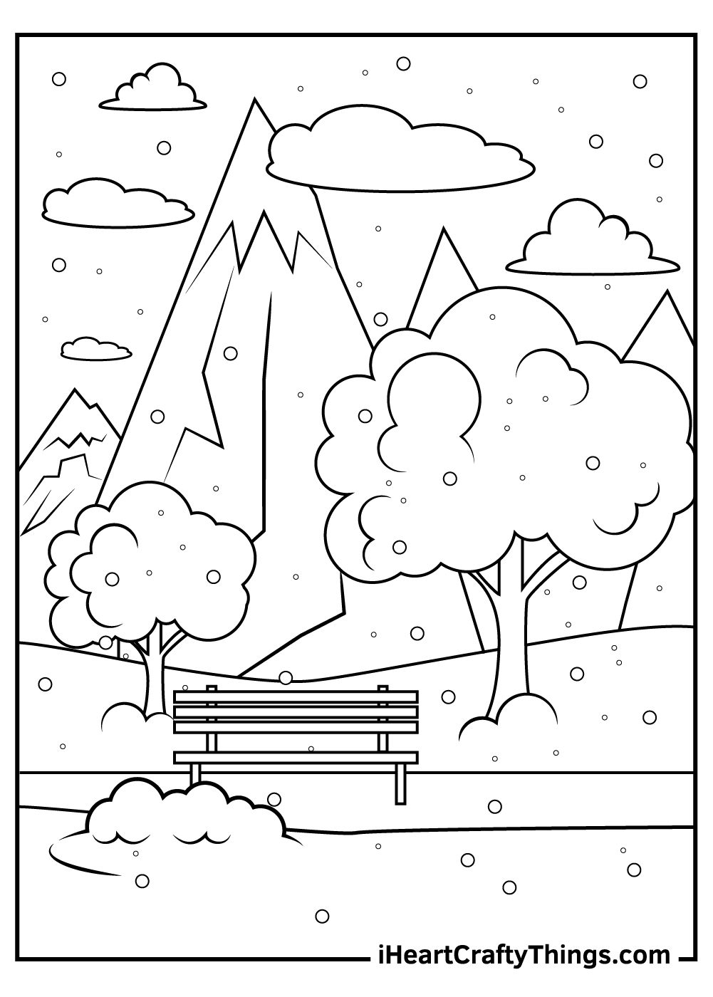 hard mountain coloring pages for kids