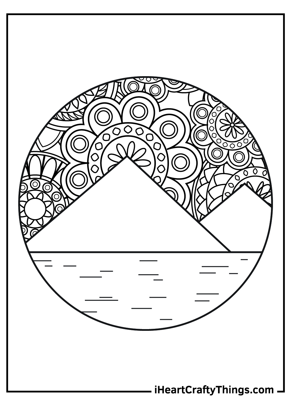 mandala mountain coloring pages	free