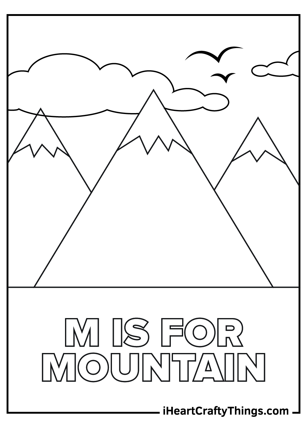 m is for mountain coloring pages free printable
