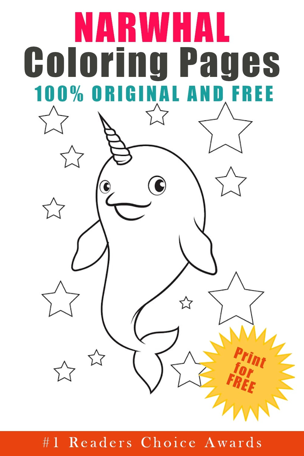 original and free narwhal coloring pages
