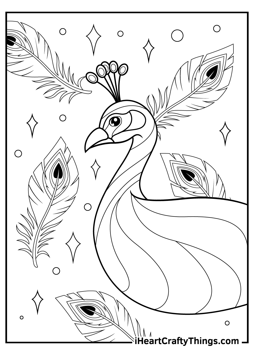 peacock coloring pages with feathers